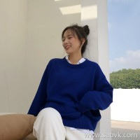 Sweater women loose lazy wind 2018 new Korean version of the round neck blue long sleeves inside the super fire net red shirt