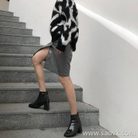 Skirt autumn and winter female 2018 new Korean version of the retro long section pu leather split high waist was thin package hip a word skirt