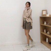 High-neck sweater women loose Korean version of the winter thick lazy wind side fork super fire cec pile collar inside take a sweater