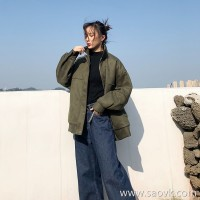 Winter 2018 new Korean version of the loose thick versatile suede lapels port wind bf locomotive tooling jacket female tide
