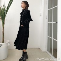 Skirt suit autumn and winter skirt in the long paragraph 2018 black velvet shirt female design sense of the small two-piece