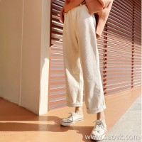 Wide leg pants female autumn and winter 2018 Korean version of loose chic corduroy high waist retro beige white cashmere straight trousers