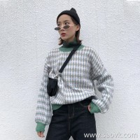 Sweater female loose 2018 autumn and winter plaid Korean version of the round neck society lazy wind short retro hooded contrast shirt
