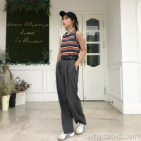 First love pants female students 2018 new autumn and winter Korean version of the high waist bf wind loose straight wild casual wide leg pants tide
