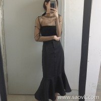 Petal fishtail skirt high waist spring and autumn retro chic skirt in the long paragraph package hip thin 2018 new step skirt
