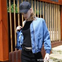 Three-in-one cowboy baseball jacket female 2017 autumn and winter new Korean version of the loose wild jacket short jacket female
