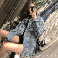 Autumn and winter denim jacket female 2018 new student Korean version bf loose large size plus velvet thickening lamb coat