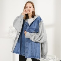 Three-in-one Sweater stitching denim jacket female loose large size bf wind oversize autumn and winter long coat