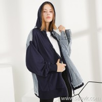 Three-in-one Sweater stitching denim jacket female hooded loose fat mm large size oversize wind autumn and winter coat