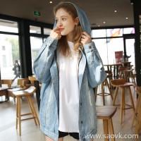 Three-in-one hooded denim jacket female loose Korean version of the hole bf2019 spring new denim shirt female tide