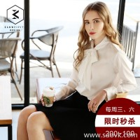 [three measurements] bow shirt women 2017 spring new long-sleeved Korean version of the self-cultivation white shirt women