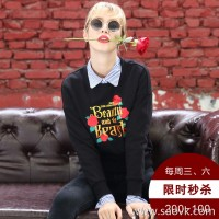 [Surrounding one] black sweater women plus velvet thickening 2017 autumn and winter loose rose embroidery set head female