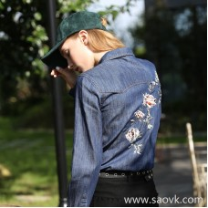 Embroidered denim shirt female 2017 spring and autumn new loose long-sleeved rose college wind winter bottoming shirt