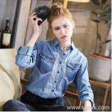 Three-dimensional denim shirt female 2018 spring new Korean version of the cotton slim slimming spring and autumn long-sleeved shirt