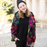 [Orphaned] woolen coat female short paragraph autumn and winter thick hooded printed wool horn buckle woolen coat female