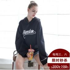[Surrounding one] black sweater women plus velvet thickening 2017 autumn and winter new Korean version of loose long sleeves