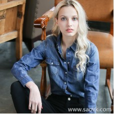 Denim shirt female long sleeve 2018 autumn new shirt Korean version of the loose thin bottoming shirt cotton thin section