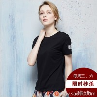 [Surrounding one] solid color black t-shirt female loose compassionate female summer wearing a cotton short-sleeved shirt
