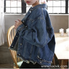Denim jacket female loose 2018 spring new Korean version of the wild BF wind boyfriend oversize short jacket female