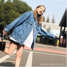 Denim jacket female 2019 spring new loose student Korean bf wind wild spring and autumn coat chic thin section tide