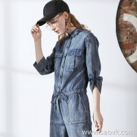 Three-in-one tooling denim jumpsuit female 2017 autumn and winter new loose long-sleeved jumpsuit jumpsuit pants