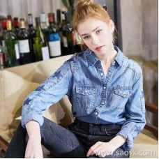 Denim shirt female 2018 spring new Korean version of the cotton five-pointed star loose thin section spring and autumn base long-sleeved shirt
