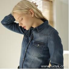 Plus velvet thickening Tiansi denim shirt female 2018 winter new Korean version of the slim slimming long-sleeved shirt women