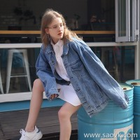 Denim jacket female 2019 spring new loose lazy bf wind Korean students loose pine long sleeve jacket