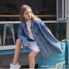 Denim jacket female 2019 spring new loose lazy bf wind Korean students loose pine long sleeve jacket