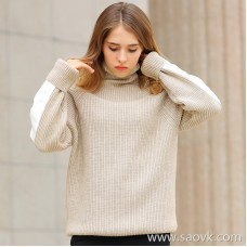 [Orphaned] high collar sweater female autumn and winter rice white stitching thickening sets of loose outer wear bottoming sweater
