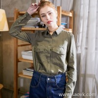 Three-dimensional one-piece shirt female 2018 new fashion simple solid color trend European and American style long-sleeved slim loose shirt