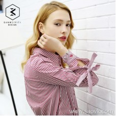 Red striped shirt female long sleeve 2019 spring new Korean version of the bow sleeve loose red and white vertical stripes lining women