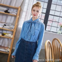 Three-dimensional denim shirt female 2018 spring new Korean version of the loose bow horn long-sleeved spring and autumn shirt
