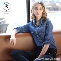 Tensi denim shirt female 2018 spring and autumn new shirt slim slimming long-sleeved ladies denim shirt