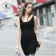 <special> three-in-one 2017 new knit camisole skirt in the long summer sleeveless dress female
