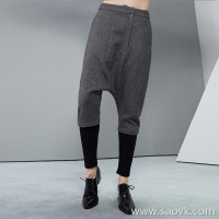 [Special] measurements of Europe and the United States large size wool casual trousers slim pants pants feet wool rib pants women