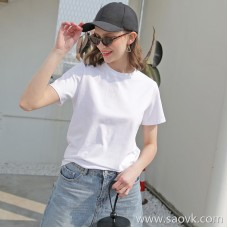 [Surrounding one] 2018 summer new solid color T-shirt female white round neck loose casual wild short-sleeved Europe