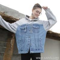 Sweater stitching denim jacket female Korean version 2018 spring new hooded jacket female loose bf wind oversize