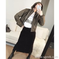 Limited special] high-end designer brand double material stitching trendy velvet retro skirt