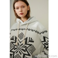 Limit special] plus thickening whole piece of heavy embroidery process hooded stitching pullover sweater