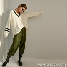 Limited special] shop word of mouth cashmere series college wind color stripes pure cashmere long-sleeved sweater (3 colors