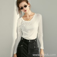 Limited special] wonderful and comfortable base. Silk Morda fabric V-neck solid color long-sleeved bottoming shirt (3 colors)