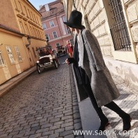 Limited special) high-end homemade Italian version of the teacher's knife superb version of the herringbone long woolen coat women's clothing