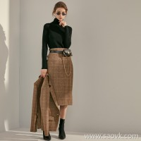 Grace) Elegant Goddess British JIN mouth fabric Vintage Plaid Women's wool skirt