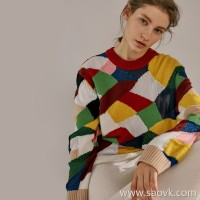 Limited special) first line original factory! A variety of special yarns woven into colorful blocks, round neck pullover sweater