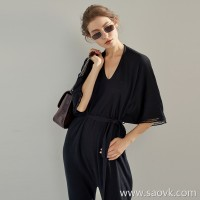 Limited special] high-end homemade front and rear two-piece paper clip silhouette black ladies jumpsuit