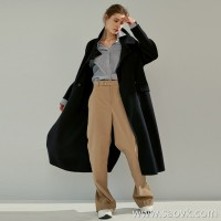 Limited edition] Haute Couture JIN mouth worsted wool Back foot slits Women's casual wide leg pants