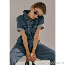 Limited edition] very advanced JIN mouth fabric washed old color low-key denim casual wide leg jumpsuit