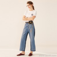 Limited] high-end denim series too foreign to wear a good boyfriend wind front and back color stitching wide-leg pants