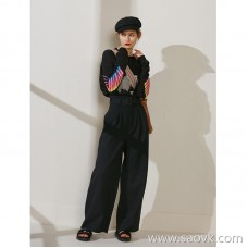 Limited special) Italian JIN mouth fabric is very advanced! Classic good pants type ladies solid color wool wide leg casual